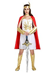 cheap -Soldier / Warrior Roman Costumes Costume Women's Halloween Carnival Masquerade Festival / Holiday Halloween Costumes Outfits White Solid Colored Halloween Ancient Rome Halloween
