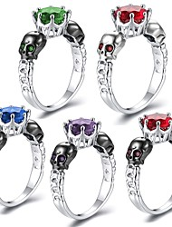 cheap -Women's Stylish Sculpture Ring - Copper, Platinum Plated, Imitation Diamond Skull Punk, Hip-Hop 6 / 7 / 8 / 9 Red / Green / Blue For Masquerade Club