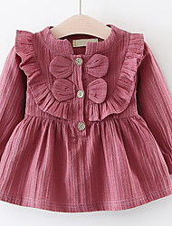 cheap -Baby Girls' Solid Colored Long Sleeve Dress