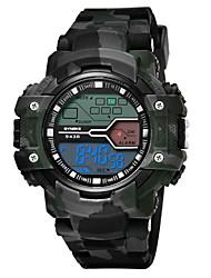 Недорогие -SYNOKE Муж. Спортивные часы / Армейские часы Календарь / Секундомер / Защита от влаги PU Группа Мода Серый / Небесно-голубой / Жад / Фосфоресцирующий