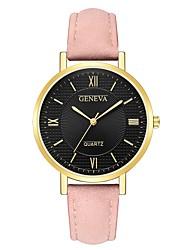 Недорогие -Geneva Жен. Наручные часы Кварцевый Новый дизайн Повседневные часы Cool Кожа Группа Аналоговый На каждый день Мода Черный / Коричневый / Серый - Розовый Коричнево-золотой Черный / Белый / Один год