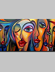 cheap -Oil Painting Hand Painted - People / Pop Art Modern Canvas
