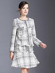 baratos -Mulheres Básico / Sofisticado Terno Quadriculada Saia