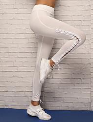 preiswerte -Damen mit Riemchen Yoga-Hose - Weiß, Schwarz Sport Elasthan Strumpfhosen / Lange Radhose / Leggins Laufen, Fitness, Tanz Sportkleidung Atmungsaktivität, Videokompression, Komfortabel Dehnbar