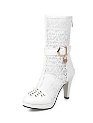 abordables -Mujer Zapatos Sintéticos Primavera verano Botas de Moda Botas Tacón Cono Dedo redondo Blanco / Negro / Boda / Fiesta y Noche