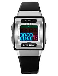 Недорогие -SYNOKE Муж. Жен. Спортивные часы электронные часы Цифровой 50 m Защита от влаги Календарь Секундомер PU Группа Цифровой Мода Черный / Белый / Розовый - Темно-синий Зеленый Розовый / Фосфоресцирующий