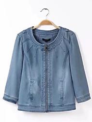 お買い得  -女性用 デニムジャケット - 活発的 ソリッド 刺繍