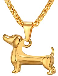 cheap -Men's Stylish Pendant Necklace - Stainless Steel Dog Trendy, Fashion Gold, Black, Silver 55 cm Necklace 1pc For Gift, Daily