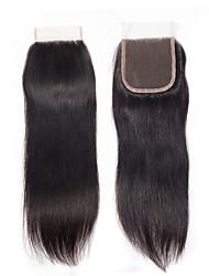 Недорогие -Yavida Бразильские волосы 4x4 Закрытие Прямой Бесплатный Часть Швейцарское кружево Натуральные волосы Все / Универсальные Классический / Шерсть / Лучшее качество