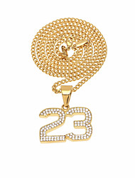 cheap -Men's Cubic Zirconia Stylish / Cuban Link Pendant Necklace / Chain Necklace - Stainless Number Unique Design, Vintage, European Gold, Silver 60 cm Necklace 1pc For Birthday, Gift