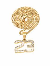 abordables -Hombre Zirconia Cúbica Elegante / Enlace cubano Collares con colgantes / Collares de cadena - Inoxidable Número Diseño Único, Vintage, Europeo Dorado, Plata 60 cm Gargantillas 1pc Para Cumpleaños
