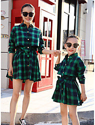 cheap -Kids Mommy and Me Plaid Long Sleeve Dress