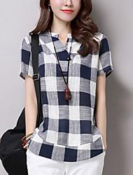 baratos -Mulheres Camisa Social - Para Noite Quadriculada