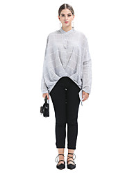 baratos -t-shirt de algodão / linho de senhora - gola redonda de cor sólida