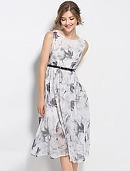 baratos -Mulheres Temática Asiática / Sofisticado Chifon / balanço / Rodado Vestido - Franzido, Sólido / Geométrica Médio Folha tropical