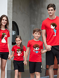 baratos -3 Peças Adulto / Infantil / Bébé Olhar de família Sólido / Estampa Colorida Manga Curta Camiseta
