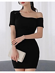 cheap -Women's Going out Slim Little Black Dress Off Shoulder