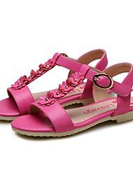 cheap -Girls' Shoes PU(Polyurethane) Summer Comfort / Flower Girl Shoes Sandals Rivet / Flower / Magic Tape for Kids Light Purple / Peach / Pink / Wedding / Party & Evening