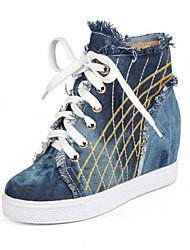 abordables -Femme Chaussures Toile de jean Printemps / Eté Confort Basket Talon Plat Bout fermé Bleu