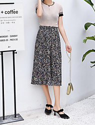 cheap -Women's Loose Wide Leg Pants - Floral / Going out