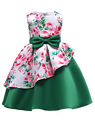 Недорогие -Дети Девочки Тропический лист Цветочный принт Без рукавов Платье