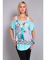 cheap -women's plus size cotton t-shirt - geometric one shoulder
