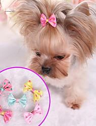baratos -Cachorros / Gatos Ornamentos / Laços Roupas para Cães Poá Vermelho / Azul / Rosa claro Poli / Mistura de Algodão Ocasiões Especiais Para animais de estimação Feminino Laço / Doce