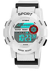 cheap -SYNOKE Men's Women's Sport Watch Digital Watch Digital 50 m Water Resistant / Water Proof Calendar / date / day Chronograph PU Band Digital Fashion Black / White / Pink - Yellow Pink Light Blue
