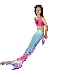 baratos -The Little Mermaid Princesa do Aqua Roupa de Banho Bikini Ocasiões Especiais Para Meninas Crianças Vintage Natal Dia Das Bruxas Carnaval Festival / Celebração Roupa fúcsia sereia