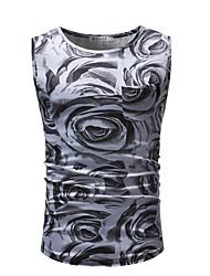 billige -Herre - Farveblok Trykt mønster Basale / Gade T-shirt