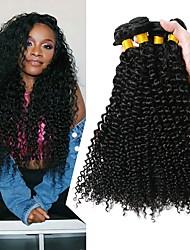 Недорогие -4 Связки Бразильские волосы Кудрявый 8A Натуральные волосы Человека ткет Волосы Удлинитель 8-28 дюймовый Черный Естественный цвет Ткет человеческих волос Машинное плетение