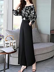 abordables -Mujer Chic de Calle / Sofisticado Conjunto - Floral / A Cuadros Pantalón