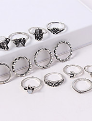 cheap -Women's Retro Ring Set - Acrylic, Alloy Elephant Vintage, European, Fashion Gold / Silver For Daily / 12pcs