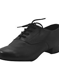 Недорогие -Мальчики Обувь для модерна Искусственная кожа На каблуках Толстая каблук Танцевальная обувь Черный