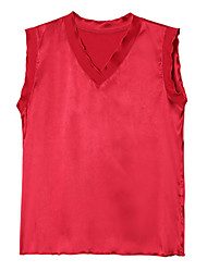 cheap -women's cotton tank top - solid colored v neck