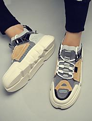 Недорогие -Муж. Кожа Наступила зима Удобная обувь Кеды Белый / Бежевый / Цвет радуги