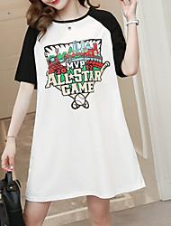 abordables -Femme Basique Tee Shirt Robe - Imprimé, Lettre Au dessus du genou