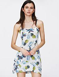 abordables -Mujer Básico Línea A Vestido - Estampado, Fruta Sobre la rodilla Piña
