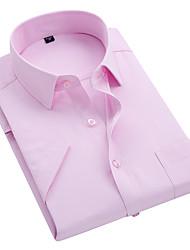 billige -Herre - Ensfarvet Bomuld Skjorte / Kortærmet
