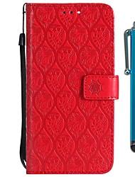 baratos -Capinha Para LG LG V20 MINI / K10 2018 Carteira / Porta-Cartão / Com Suporte Capa Proteção Completa Flor Rígida PU Leather para LG V30 / LG V20 MINI / LG Q6