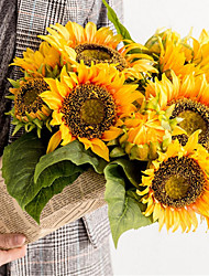 baratos -Flores artificiais 6 Ramo Clássico Europeu / Estilo simples Girassóis Flor de Mesa
