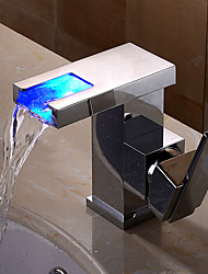 cheap -Bathroom Sink Faucet - Waterfall / Widespread / New Design Chrome Wall Mounted Single Handle One Hole