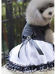 baratos -Cachorros / Gatos / Animais Pequenos Peludos Vestidos Roupas para Cães Cristal / Strass / Princesa Preto Jacquard Algodão / Algodão Ocasiões Especiais Para animais de estimação Feminino Esporte