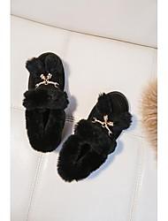 abordables -Femme Chaussures Cuir Nappa Automne hiver Confort Mocassins et Chaussons+D6148 Talon Plat Noir / Marron