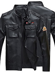 cheap -Men's Leather Jacket - Letter Stand / Long Sleeve