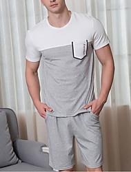 Недорогие -Муж. U-образный вырез Костюм Пижамы Однотонный