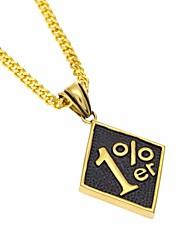 abordables -Hombre Enlace cubano Collares con colgantes / Collares de cadena - Creativo, Número Diseño Único, Europeo, Hip-Hop Dorado 70 cm Gargantillas 1pc Para Regalo, Calle