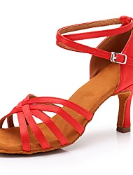 cheap -Women's Latin Shoes Satin Sandal / Heel Buckle Slim High Heel Customizable Dance Shoes Red