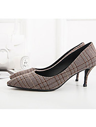 cheap -Women's Shoes Polyester Spring / Fall Comfort / Basic Pump Heels Stiletto Heel Gray / Light Brown