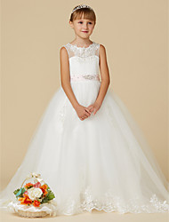 cheap -Princess Sweep / Brush Train Flower Girl Dress - Lace / Tulle Sleeveless Jewel Neck with Beading / Appliques / Belt by LAN TING BRIDE®